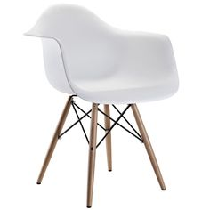 Wood Pyramid Arm Chair in White | Overstock.com Shopping - The Best Deals on Dining Chairs