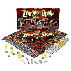 Zombie Board GameZombie-Opoly Zombie Board Game is a spooky rendition of the classic Monopoly game but with an undead twist. Zombie-Opoly lets players buy their favourite zombies and gain money by increasing the rent. Zombie Board Game, Games Zombie, Zombie News, Funny Zombie, Zombie Movies, Monopoly Board, Monopoly Game, Zombie Shop, Zombie Gifts