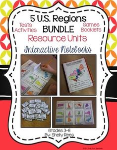 US Regions Interactive Notebook, Tests, Foldables, Games.  My students love these 5 US Region Resources!!!  Grades 3-6