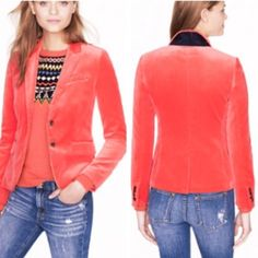 "J. Crew Schoolboy Blazer in Velvet Poppy Size 4 Gorgeous Bold color ""Poppy"" classic schoolboy velvet blazer, size 4, PERFECT condition worn once since I purchased and has spent a year hanging in my closet! J. Crew Jackets & Coats Blazers"