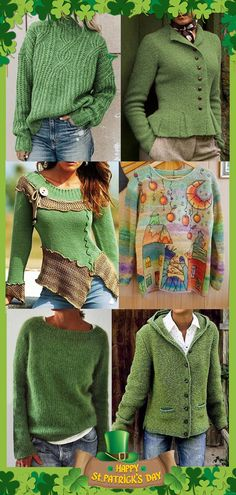 Saint Patrick's Day Green Clothing On Sale now>>Shop now>> – The Best Ideas Mode Outfits, Casual Outfits, Fashion Outfits, Saint Patrick's Day, Pullover Mode, Knit Baby Dress, Golf Fashion, Fashion Women, Sweater Fashion