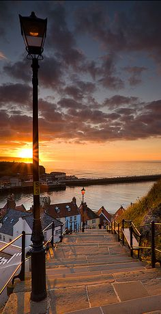 "Bucket List: For so many reasons I want to visit Whitby. ""Steps to the Sea"" ~ east coast ~ Whitby, North Yorkshire, England ~M x Places Around The World, Oh The Places You'll Go, Places To Travel, Places To Visit, Whitby England, England Uk, Beautiful World, Beautiful Places, Beautiful Sunset"