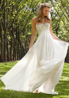 Empire Herzform Bodenlänge Chiffon Brautmode mit Perlen
