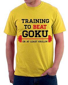 Camiseta entrenamiento vencer a GOKU, FRASI, HUMOR, gimnasio, SPORT S M L XL XXL camiseta T-shirteria Amarillo amarillo Talla:large #regalo #arte #geek #camiseta