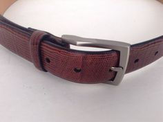 Mens Italian Leather Brown Animal Print Design Belt Size 36/90 #ItalianLeather