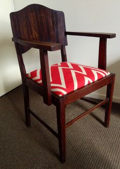Cheat Chair- Three Sisters on Facebook Chevron burlap reupholstered chair makeover