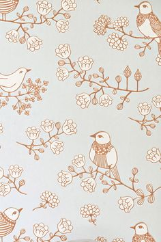 "Majvillan Wallpaper Company brings us this green children's wallpaper ""Cherry Valley"" where little birds sit on sweet dreams in a valley of flowers Non-Woven Wallpaper (paste the wall) Washable & Eco-Friendly Roll Size: x Repeat: Straight Match In-stock!"