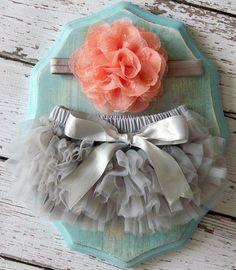 Baby Girl TuTu Bloomers Chiffon Ruffle Diaper Cover Grey Gray Peach Coral Flower Headband Set Newborn Photography Prop 0 3 6 9 12 18 months