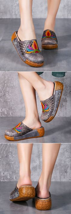 46% OFF! US$55.77 SOCOFY Colorful Pattern Hollow Out Bakcless Slip On Flower Shoes。 SHOP NOW!
