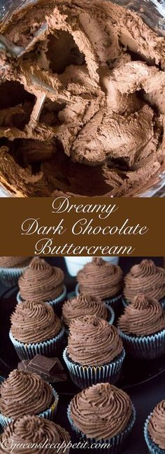 A light fluffy decadent and dreamy Dark Chocolate Buttercream Frosting Perfect for frosting cakes cupcakes and Chocolate Buttercream Frosting, Buttercream Recipe, Frosting Recipes, Cupcake Recipes, Baking Recipes, Cupcake Cakes, Dessert Recipes, Fondant Recipes, Fondant Tips