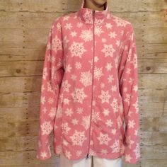 """Pink Fleece Zippered Jacket With White Snowflakes 100% polyester. Bust when zipped measures 50"""". Length is 28"""". Sleeves are 19 1/2"""". It has two side pockets that zips. No holes, rips, stains or tears. Non smoking home Falls Creek Jackets & Coats"""