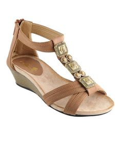 Look at this #zulilyfind! Tan Beth Wedge Sandal by Anna Shoes #zulilyfinds