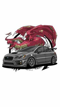 Tuner Cars, Jdm Cars, Jdm Wallpaper, Muscle Cars, Car Illustration, Illustrations, Car Posters, Car Drawings, Subaru Wrx