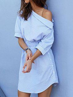 Vestido Camisa Listrado - Compre Onine | DMS Boutique