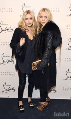 Mary Kate & Ashley Olsen in leather, fur, & leopard.