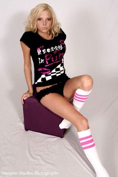BabbleGum Pink Striped White Tube Socks from www.SkaterSocks.com