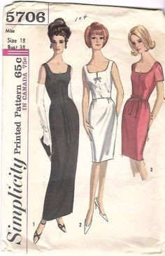 """Vintage 1960's Sewing Pattern Simplicity 5706 Slim Wiggle Cocktail Dress B 38"""" #Simplicity"""