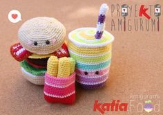 Amigurumi Burger, Drink and Frees Crochet by Amigurumi Food Blog. Free Pattern More Patterns Like This!