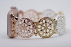 Apple Watch Band, Apple Watch Band 38 mm, Apple Watch Band 42 mm, Rose Gold Apple Watch Band, Rose, Silver and Gold toned by GirlTechFinds on Etsy https://www.etsy.com/listing/498620455/apple-watch-band-apple-watch-band-38-mm