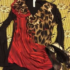 HOT! Leopard Print Blouse with Maroon color!! HOT! Leopard Print Blouse with Maroon color!! Tops Blouses