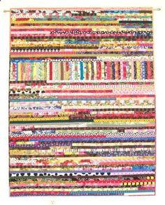Boho Scrap Quilt, Wall Quilt, Wall Hanging, Improvisational Quilt, Lap Quilt, Quiltsy, 44 x 57 by Karen Griska