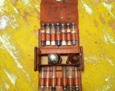 RARE Late 1800s leather Apothecary Druggist Doctor Pharmacist glass vial traveling medicine kit case