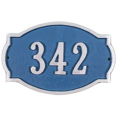 Montague Metal Products Petite Cambridge Address Plaque Finish: Sea Blue / Silver, Mounting: Lawn