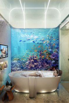 Seahorse, un projet exceptionnel de construction de 42 villas de luxe à Dubaï. Des maisons qui flotteront sur l'eau et qui seront en partie immergées ! L'espace nuit totalement immergée offrira grâce à ses baies vitrées une vue panoramique sur la faune et la flore de l'océan.