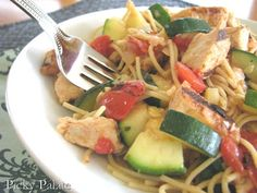 Summer Zucchini And Grilled Chicken Spaghetti With Leeks and Fire Roasted Tomatoes - Picky Palate