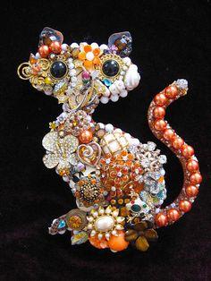 Vintage Jewelry Tabby Cat Collage Decorative by ArtCreationsByCJ, $85.00