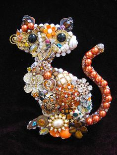 Vintage Jewelry Tabby Cat Collage Sculpture by ArtCreationsByCJ, $90.00