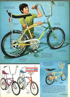 retro 50 colorful vintage banana seat bikes for kids from the amp; at Click Americana - Velo Vintage, Vintage Bicycles, Vintage Ads, Childhood Toys, Childhood Memories, Bici Retro, Banana Seat Bike, Kids Mode, Old Toys