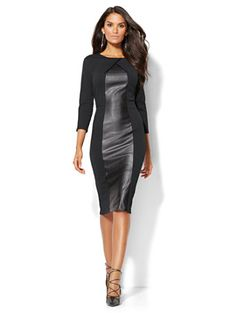 Shop Faux-Leather Panel Sheath Dress . Find your perfect size online at the best price at New York & Company.