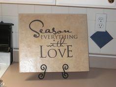 Vinyl Lettering for the Kitchen - Season Everything With Love - Great for a tile Vinyl for tile Vinyl Tile Art Vinyl Wall Art. $13.71, via Etsy.