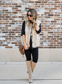My Favorite Tunic & Faux Fur Vest with Leggings | Honey We're Home