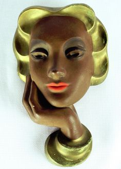 Art Deco Lady Face Wall Mask Vintage Chalkware Lady Head Wall Hanging
