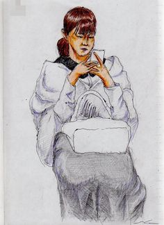 This is a sketch of the lady who put the white cloth I drew in the train on.