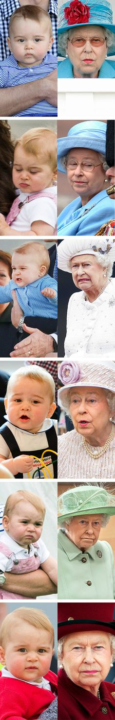 Young Prince George already getting down the royal facial expressions from his GrandMum, the Queen of England!!