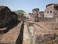 Panorámica interior de La Gran Acrópolis, en donde se aprecia la red de canales de desagüe, que servían para drenar el agua de los edificios circundantes. Ciudad maya de Comalcalco, Tabasco, México.