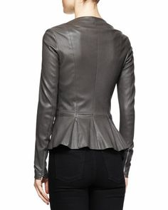 THE ROW Anasta Leather Peplum Jacket, Charcoal - Bergdorf Goodman