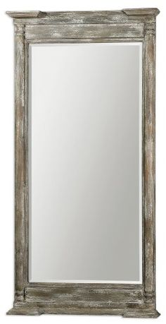 74 Oversized Ivory Gray Weathered Wood Framed Beveled Rectangular Wall Mirror -- This is an Amazon Affiliate link. Continue to the product at the image link.
