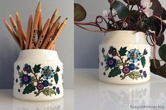 Midwinter 'Alpine Blue' Container (pot), designed by Jessie Tait, 'Fine' shape by Marquis of Queensbury, Staffordshire, flowers leaves Royal College Of Art, Spring Has Sprung, Jar Storage, Shape Design, Brighten Your Day, Vintage Ceramic, Pink Flowers, Diffuser, Container