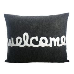 I pinned this Alexandra Ferguson Welcome Pillow in Charcoal from the Pillow Talk event at Joss and Main!