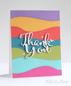 "Dotted border dies and a dimensional ""thank you"" using bright, bold colors really make this handmade thank you card stand out."