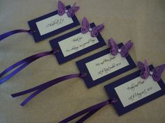 25 x Personalised Purple Butterfly Wedding Favour Tags, Place cards