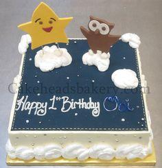 Star  Owl Cake by Cakeheads, via Flickr Half Birthday Cakes, Leo Birthday, 1st Birthday Parties, Ladybug Cakes, Owl Cakes, Twinkle Star Party, Twinkle Twinkle, Star Cakes, 1st Birthdays