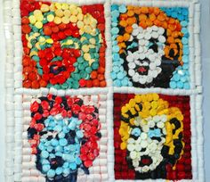 Andy Warhol's Marilyn Monroe made in marshmallows, by artist Marie Pelton  || This image first pinned to Marilyn Monroe Art board, here: http://pinterest.com/fairbanksgrafix/marilyn-monroe-art/ ||