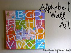 Pottery Barn knock off DIY alphabet chart art!! Love this!