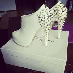 White Booties with Silver Spikes