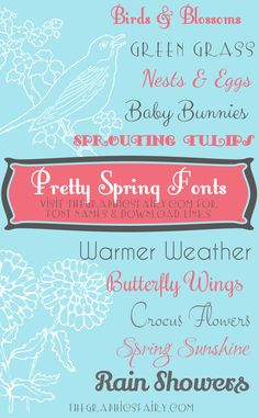 This month we have a list of our favorite pretty spring fonts! These fonts are delicate, lovely, and remind us of spring flowers. Cute Fonts, Fancy Fonts, Pretty Fonts, Typography Fonts, Hand Lettering, Spring Font, Computer Font, Silhouette Fonts, Commercial Use Fonts